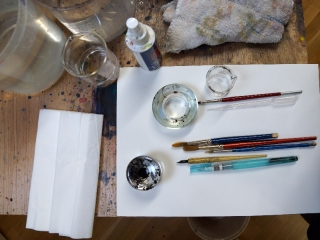 pen-and-ink-drawing-materials-set-up
