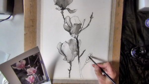 I added an additional magnolia flower bud on the right hand side for balance.