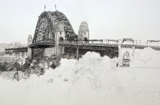 pen-and-ink-of-buildings-at-the-rocks-sydney